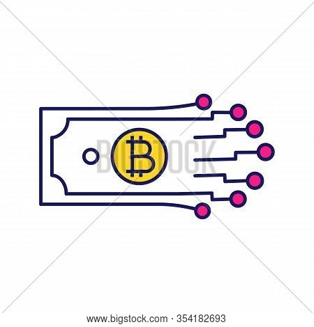 Digital Money Color Icon. Bitcoin. Cryptocurrency. E-payment. Paper Money With Chipset Pathway. Cryp