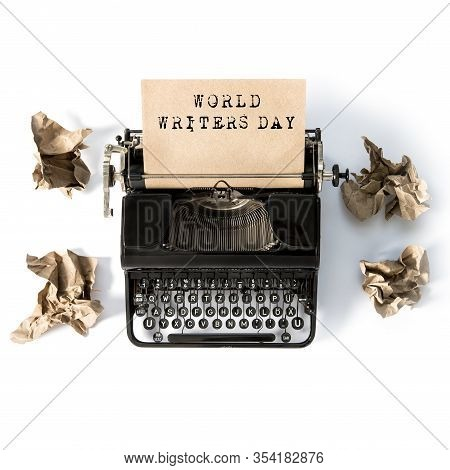Antique Typewriter With Paper. World Writers Day. Creative Flat Lay