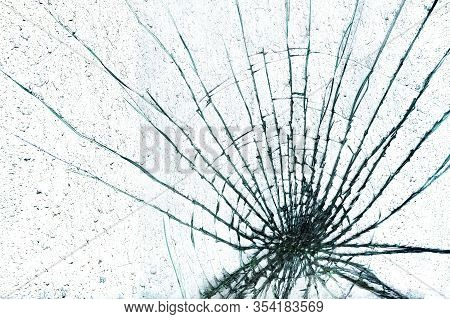 Shattered Glass Window Against A White Background
