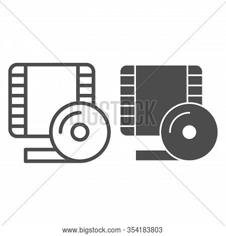 Videotape Frame Line And Solid Icon. Film Strip Symbol, Outline Style Pictogram On White Background.