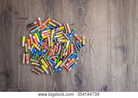 Adelaide, Australia - July 7, 2019: Plastic Box Full Of Used Household Aa And Aaa Batteries Collecte