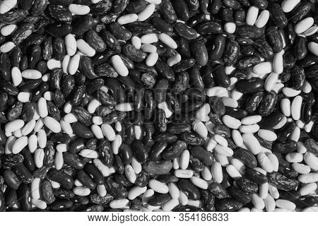Soya Beans Close-up In Black And White. Food And Ingredients Background.