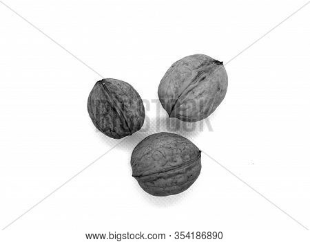 Three Wallnuts On White In Black And White. Food And Ingredients Background.