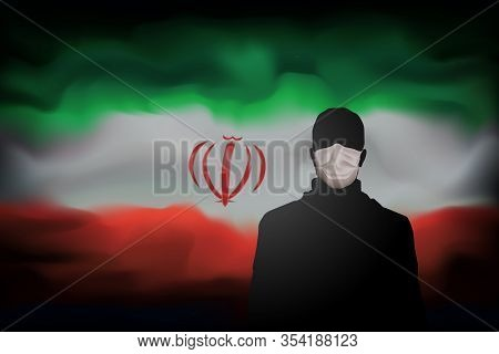 Covid-19 Coronavirus Epidemic In Iran. Silhouette Of Man In Medical Mask On Abstract Iranian Flag Ba