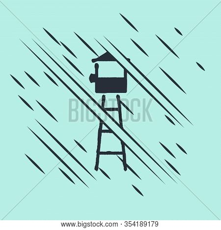 Black Watch Tower Icon Isolated On Green Background. Prison Tower, Checkpoint, Protection Territory,