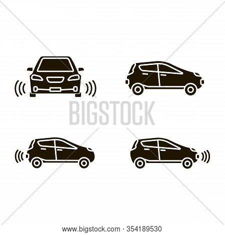 Smart Cars Glyph Icons Set. Nfc Autos. Intelligent Vehicles. Self Driving Automobiles. Autonomous Ca
