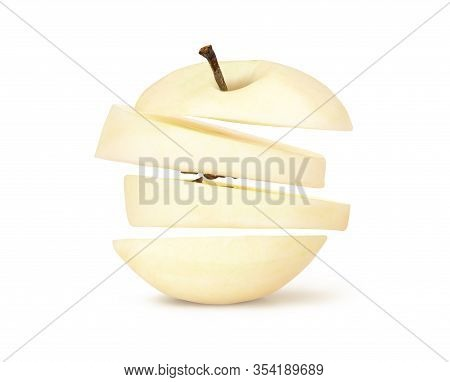 Peeled Apple From The Skin On A White Background