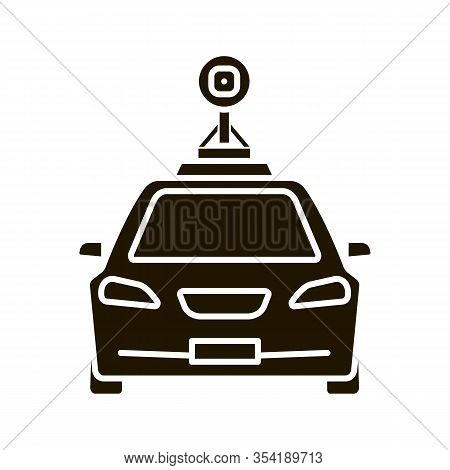 Smart Car In Front View Glyph Icon. Nfc Auto With Roof Camera And Radar Sensor. Silhouette Symbol. S