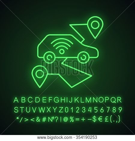 Self Driving Car Neon Light Icon. Smart Navigation. Setting Pickup And Drop Off Locations. Driverles