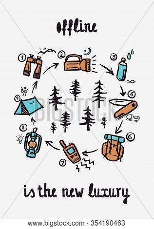 Offline Is The New Luxury - Lettering Inspiring Typography Poster With Text, Camping And Hiking Elem