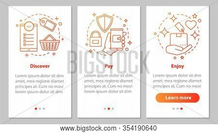 Online Shopping Onboarding Mobile App Page Screen With Linear Concepts. Digital Purchase. Discover D