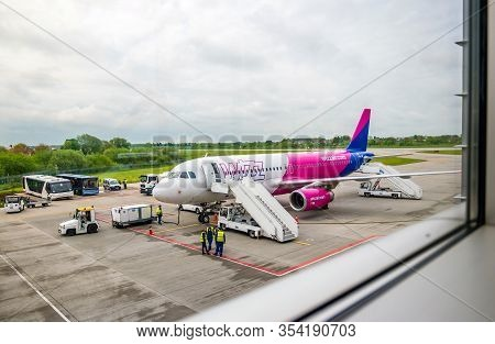Lviv, Ukraine - May, 2019: Wizzair Airplane At Danylo Halytskyi International Airport.