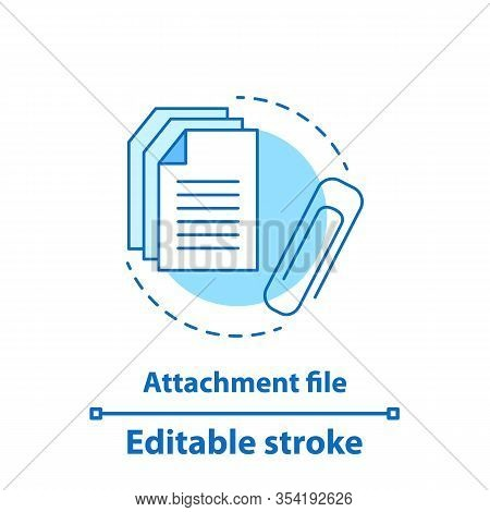 File Attachment Test Concept Icon. Attach Document Idea Thin Line Illustration. Email Attachment. Ve