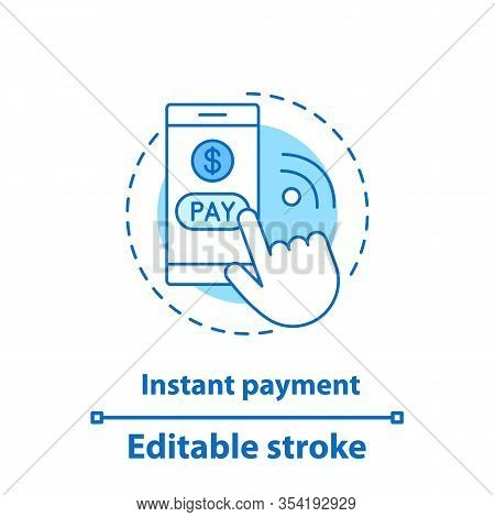 Instant Payment Concept Icon. Pay Per Click Idea Thin Line Illustration. E-payment. Online Payment.