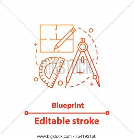 Blueprint Concept Icon. Flat Plan Design Idea Thin Line Illustration. Drafting. Vector Isolated Outl