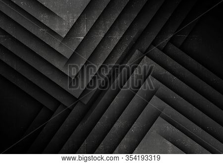 Minimalist Black Abstract Background, Geometric Pattern Of Corners With Rough Concrete Texture. 3d R