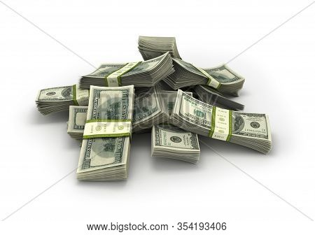 Dollars Bills Stack Isolated On A White Background , 3d Illustration