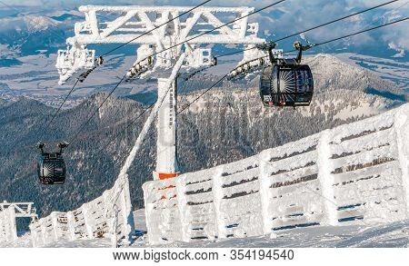 Demanovska Dolina, Slovakia - February 7: Modern Cableway Funitel In Ski Resort Jasna - Low Tatras M