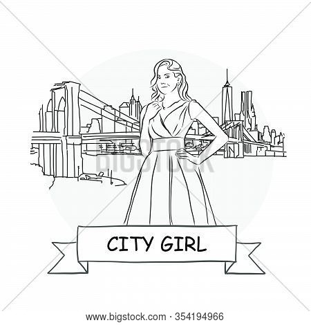 City Girl Cityscape Vector Sign. Line Art Illustration With Ribbon And Title.