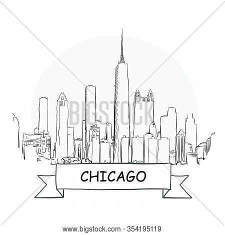 Chicago Cityscape Vector Sign. Line Art Illustration With Ribbon And Title.