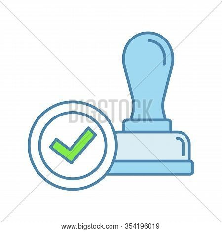 Stamp Approved Color Icon. Stamp Of Approval. Verification And Validation. Certified, Approved. Isol