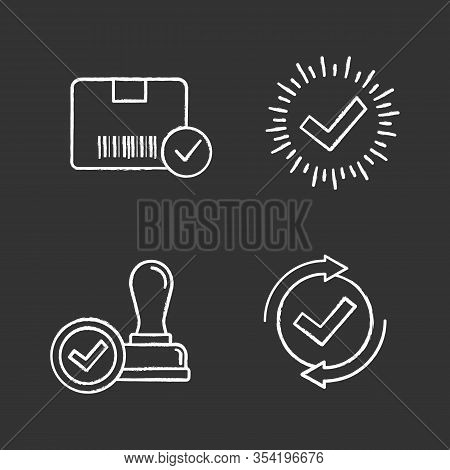 Approve Chalk Icons Set. Verification And Validation. Approved Delivery, Check Mark, Stamp Of Approv