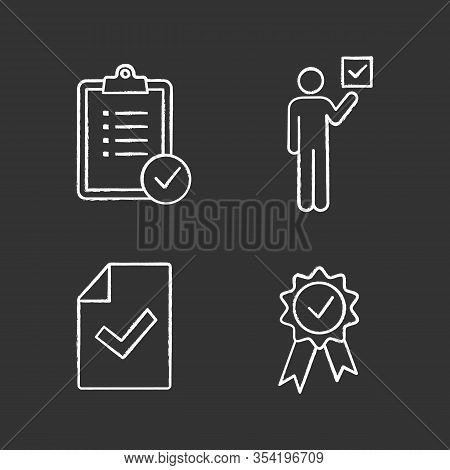 Approve Chalk Icons Set. Verification And Validation. Task Planning, Voter, Document Verification, A