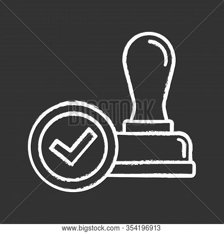 Stamp Approved Chalk Icon. Stamp Of Approval. Verification And Validation. Certified, Approved. Isol