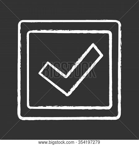 Checkbox Chalk Icon. Check Box. Checkmark. Voting. Verification And Validation. Approved. Isolated V