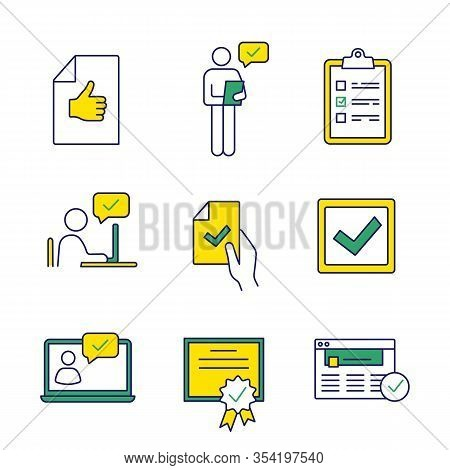 Approve Color Icons Set. Approval Document, Person Checking, Checklist, Approval Chat, Contract Sign