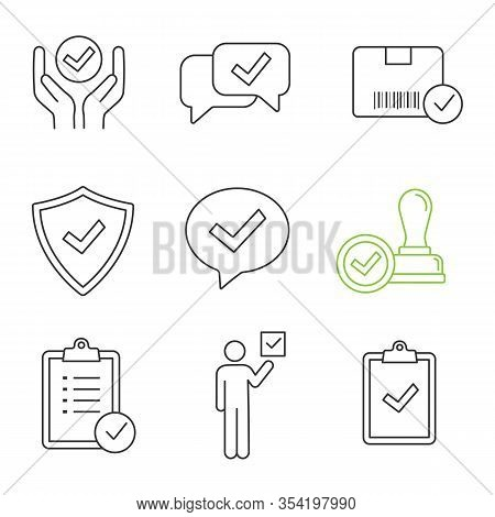 Approve Linear Icons Set. Quality Service, Approved Chat, Delivery, Security, Dialog, Stamp, Task Pl