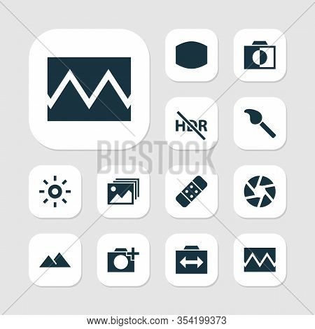Photo Icons Set With Broken Image, Filter, Effect And Other Hdr Off Elements. Isolated Vector Illust