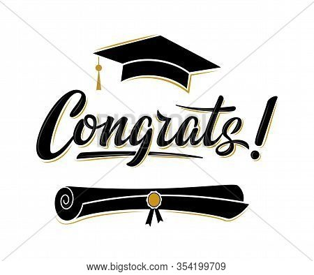 Congrats! Greeting Sign For Graduation Party. Class Of 2020. Academic Cap And Diploma. Vector Design