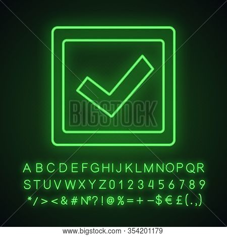 Checkbox Neon Light Icon. Check Box. Checkmark. Voting. Verification And Validation. Approved. Glowi