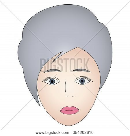 Color Vector Illustration Of A Girl Face With Gray Eyes. Full Face. Short Pixie Haircut. Platinum Bl