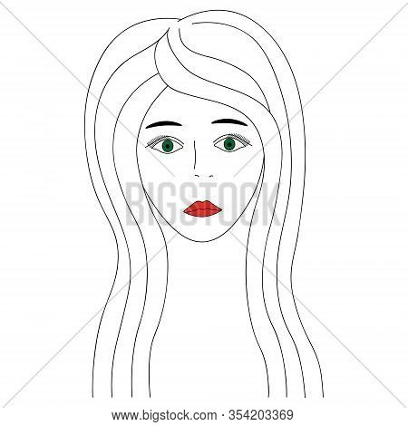 Vector Illustration Of A Girl Face With Green Eyes. Full Face. Long Eyelashes. Black Eyebrows. Her L