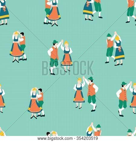 Dancing Oktoberfest Couples Seamless Vector Pattern. Traditional Bavarian Clothing. Oktoberfest Repe