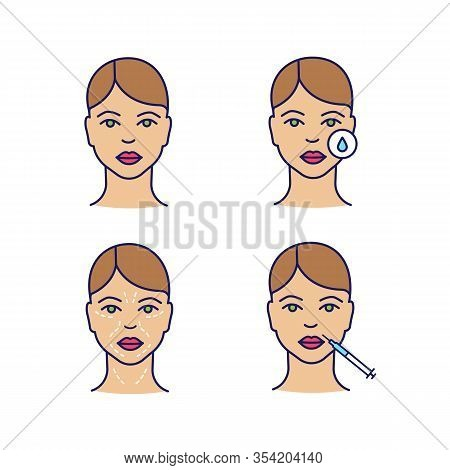 Neurotoxin Injection Color Icons Set. Woman Face, Makeup Removal, Mimic Wrinkles, Lips Injection. Is