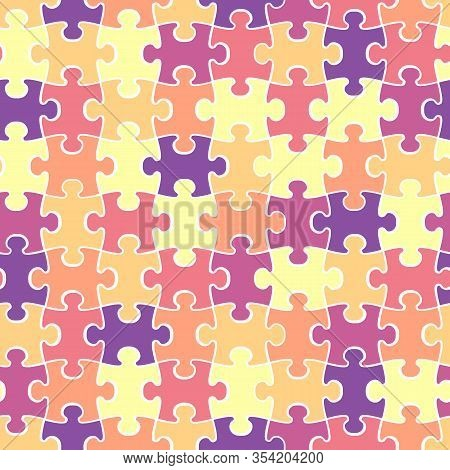 Colorful Puzzle Seamless Backdrop With White Contour. Vector Illustration Design For T-shirts Or Bed