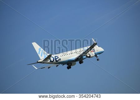 Amsterdam The Netherlands - April, 19th 2018: G-fbjd Flybe Embraer Erj-175  On Final Approach To Sch