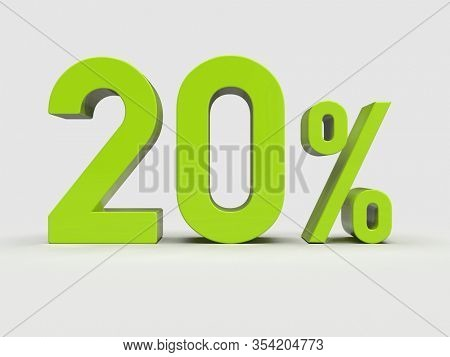 3d Render: Green 20% Percent Discount 3d Sign on Light Background, Special Offer 20% Discount Tag, Sale Up to 20 Percent Off, Twenty Percent Letters Sale Symbol, Special Offer Label, Sticker, Tag