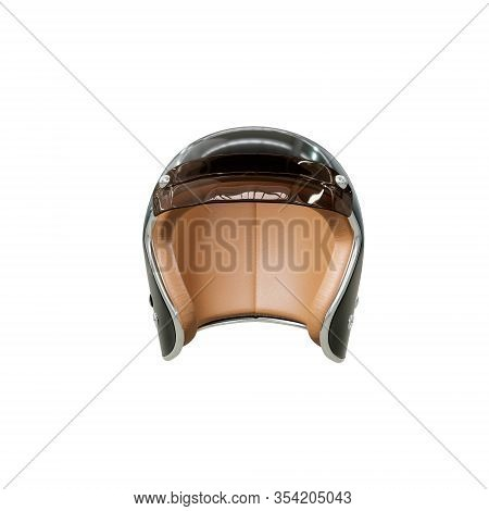 Helmet For A Motorcycle, Life Safety Accessory, Black With A Plastic Visor And Leather Inside. Isola