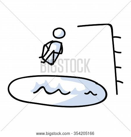 Cute Stick Figure Cannonball Into Pool Board Vector Clipart.courageous Athlete Dive Board. Hand Draw