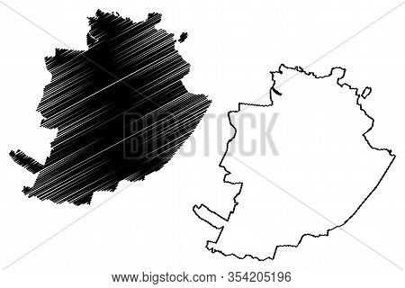 Turin City (italian Republic, Italy, Piedmont) Map Vector Illustration, Scribble Sketch City Of Turi