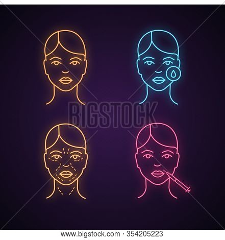 Neurotoxin Injection Neon Light Icon. Woman Face, Makeup Removal, Mimic Wrinkles, Lips Injection. Gl