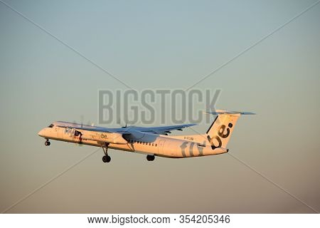 Amsterdam, The Netherlands  -  June 2nd, 2017: G-flbb Flybe De Havilland Canada Dhc-8-400 Taking Off