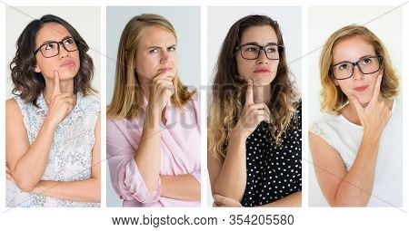 Beautiful Pensive Women. Collage Of Attractive Thoughtful Women In Eyeglasses Standing With Hands On
