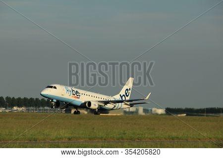 Amsterdam, The Netherlands  - June 1st, 2017: G-fbji Flybe Embraer Erj-175 Taking Off From Polderbaa