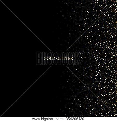Gold Glitter Texture.gold Sparkles On Dark Background. Gold Glitter Texture. Creative Invitation For