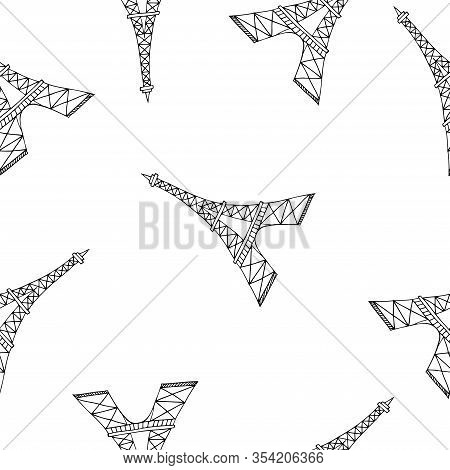 Vector Seamless Pattern With Eiffel Tower, Simple Surface Pattern Design For Backgrounds, Wrapping P